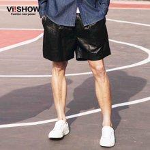 viishow夏装短裤 欧美街头潮流短裤男 pu皮短裤休闲裤潮KD61461
