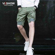viishow夏装新款短裤 欧美潮流休闲短裤男 军绿色五分裤收脚KD76662