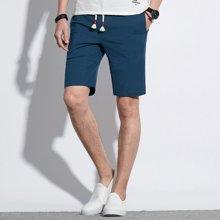 卓狼亚麻短裤男2017夏季新品棉质潮流纯色运动五分裤休闲卫裤K6505