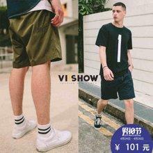VIISHOW夏装新款休闲短裤男多色可选安全扣饰男士五分裤子潮KD1720172