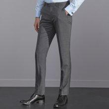 艾梵之家 免烫修身男士西裤商务职业正装西服裤子灰色西裤EVXK158