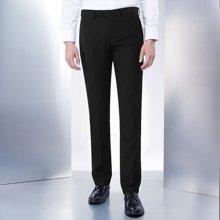 Evanhome/艾梵之家 春秋款免烫男士西裤 修身型商务休闲小脚西装长裤纯黑色EVXK012