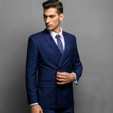 Evanhome/艾梵之家 秋季男士西服套装 商务修身型礼服藏青白色条纹西装外套EVXF037