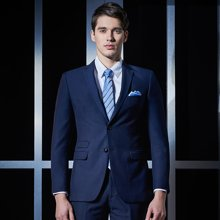 Evanhome/艾梵之家 新款商务正装男套装修身型西服外套男士职业装藏青色男装EVXF101