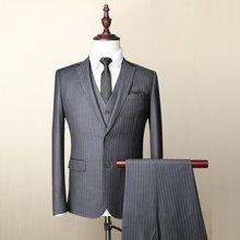 Evanhome/艾梵之家 男士西服三件套商务正装灰色竖条纹西装外套 EVXF036-1