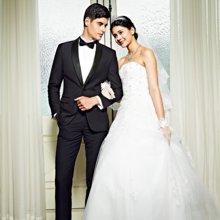 Evanhome/艾梵之家 男士西服套装修身新郎结婚晚礼服青果领西装黑色外套二件套EVXF094