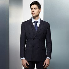 Evanhome/艾梵之家 春季新款男士商务休闲西服套装 双排两粒扣藏青色白条纹EVXF054