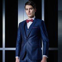Evanhome/艾梵之家 男士西服套装蓝色提花西装三件套商务职业正装西服外套EVXF098
