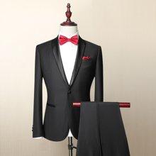 Evanhome/艾梵之家 男士羊毛西装新郎结婚修身青果领西服套装男礼服黑色提花EVXF076