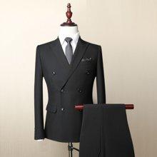 Evanhome/艾梵之家 秋季男士商务正装西服套装 修身型职业双排扣西装男黑色EVXF056