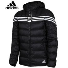 adidas阿迪达斯轻薄羽绒服运动休闲连帽男保暖外套黑色冬季AB4626