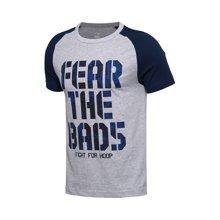 李宁短袖T恤男士BAD FIVE篮球系列吸湿纯棉休闲运动服AHSM195