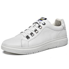 乐嘉途男鞋春季新款牛皮男士皮鞋小黑鞋时尚潮流板鞋低帮休闲鞋男L2065