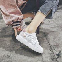 乐嘉途女鞋街拍小白鞋女百搭韩版学生松糕跟女厚底板鞋2018新款透气白鞋女夏X830-15