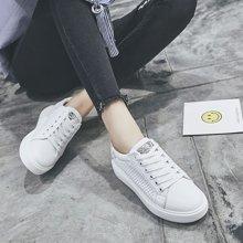 乐嘉途女鞋透气小白鞋女2018新款女士厚底增高百搭镂空韩版文艺清新板鞋女X830-11