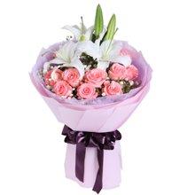 为爱相随----多头百合1枝,黛安娜粉玫瑰11枝[花礼网鲜花]