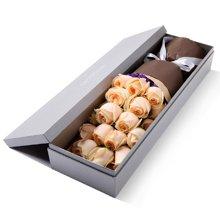 你最珍贵----精品玫瑰礼盒:香槟玫瑰19枝,勿忘我适量