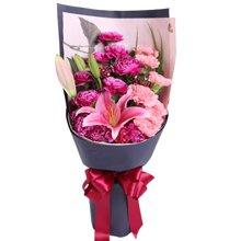 紫听您说----紫色康乃馨12枝,粉色康乃馨7枝,多头百合1枝