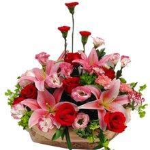 圆满----康乃馨6枝,红玫瑰7枝,粉香水百合2枝(5朵)