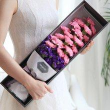 天使之祈----精品康乃馨礼盒,粉色康乃馨19枝,勿忘我适量