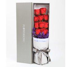 燃梦----精品玫瑰礼盒,红玫瑰11枝,勿忘我适量