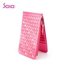 Sasa/萨萨 女士钱包轻薄款羊皮手工编织多功能钱卡包女包 SA38-W0458