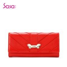Sasa/萨萨 女士钱包时尚头层牛皮盖头红色长款女包 红色SA25-W0420R