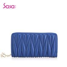 Sasa/萨萨 女士钱包轻奢羊皮褶皱长款拉链功能包女包 SA45-W0474
