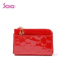 Sasa/萨萨 钱包迷你时尚亮漆牛皮压纹迷你零钱包 红色SA15-H0110R