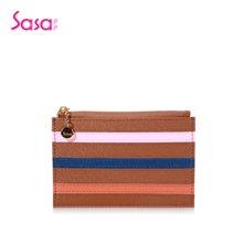 Sasa/萨萨 女士钱包牛皮拼接几何条纹零钱包休闲迷你手包 咖啡色SA12-W0299C