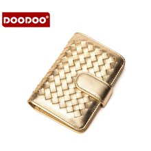 DOODOO 新款女钱包纯手工编织两折单拉链钱夹D6966