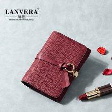 LANVERA朗薇 新款牛皮钱包欧美折叠小手包女士短款钱夹6602