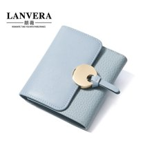 LANVERA朗薇 新款牛皮钱包韩版女士短款钱夹零钱包 6627