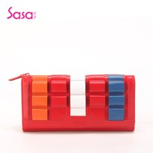 Sasa/萨萨 功能包头层牛皮钱包个性飞扬长款皮夹女包 红色SA25-W0421R