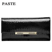 PASTE2016新款欧美时尚多卡位钱包潮女长款鳄鱼纹牛皮手拿包3P806A
