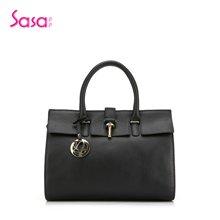 Sasa/萨萨 女士手提包挎包百搭轻奢金属扣牛皮女包大款 SA47-H0490