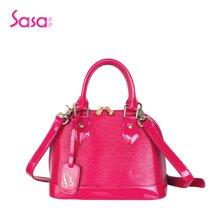 Sasa/萨萨 女士手提单肩包时尚百搭牙签纹漆皮贝壳包小款SA37-H0453