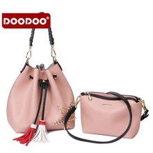 DOODOO 新款女包铆钉子母水桶包手提单肩斜跨包6111