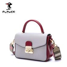 啄木鸟Plover新款手提小方包格纹宽肩带单肩包 欧美时尚女包休闲小包包 P16302L212H