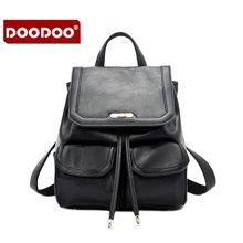 DOODOO 新款双肩包韩版 PU百搭简约学院风迷你小背包 6005