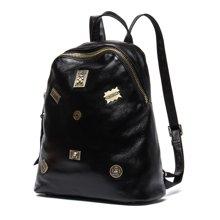 海谜璃 新款韩版时尚牛皮情侣双肩包黑色旅行背包时尚情侣包6930