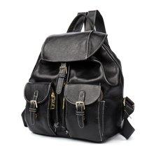 海谜璃(HMILY) 时尚牛皮女士双肩包多口袋设计抽带背包H6966
