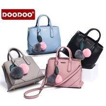 DOODOO 新款女包时尚韩版手提单肩包配毛毛球6101