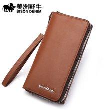 美洲野牛长款钱包 商务休闲手拿包头层牛皮票夹多功能手机包皮夹N8012-1
