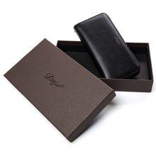 丹爵新款时尚简约男士手拿包牛皮男士拉链长钱包精美礼盒装D1008新款
