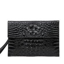 丹爵新款男士商务手包头层牛皮时尚手拿包鳄鱼纹男士手包钱包D8208-1