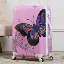 20寸24寸男女蝴蝶纹礼品拉杆箱PC亮面旅行箱万向轮旅行箱