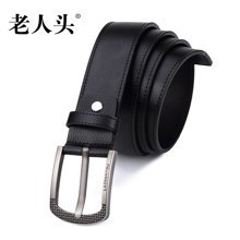 老人头时尚潮流品质牛皮男士针扣皮带网格款扣头505J011L