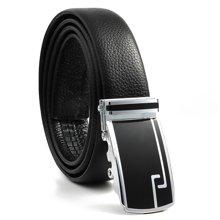 GSQ古思奇皮带男士双面皮牛皮自动扣腰带商务休闲裤带PD68黑色