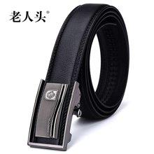 老人头时尚品质牛皮男士自动扣皮带镂空压花扣头505J012L